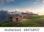 hotel on the mountain in the... | Shutterstock . vector #684718927
