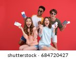 image of young cheerful group... | Shutterstock . vector #684720427