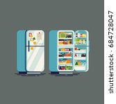 cool flat design vector fridge. ... | Shutterstock .eps vector #684728047
