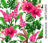 tropical leaves and flowers... | Shutterstock .eps vector #684733093