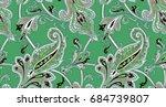 luxury paisley green design  | Shutterstock . vector #684739807
