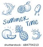 set of juicy summer fruits and... | Shutterstock .eps vector #684754213