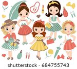 vector set with cute little... | Shutterstock .eps vector #684755743