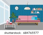 modern bright living room... | Shutterstock .eps vector #684765577