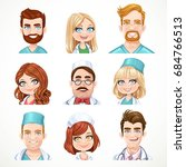 avatars portraits of doctors... | Shutterstock .eps vector #684766513
