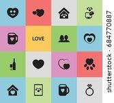 set of 16 editable love icons....