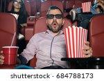 hispanic man with 3d glasses... | Shutterstock . vector #684788173