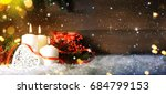 candels with christmas... | Shutterstock . vector #684799153