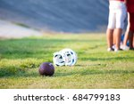 football helmet and ball on the ... | Shutterstock . vector #684799183