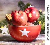 rustic christmas background... | Shutterstock . vector #684799957