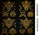 set of gold damask ornaments.... | Shutterstock .eps vector #684800437