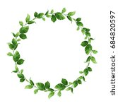 green leaves wreath. watercolor ... | Shutterstock . vector #684820597