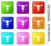 buffalo skull set 9   Shutterstock .eps vector #684832183
