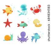 marine set with underwater... | Shutterstock . vector #684834583
