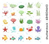 marine animals  fishes... | Shutterstock . vector #684834643