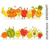 cartoon fruits and vegetables... | Shutterstock . vector #684834697