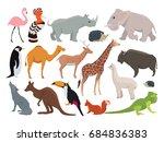 cute wild animals in cartoon... | Shutterstock . vector #684836383