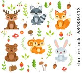 funny forest animals and floral ... | Shutterstock . vector #684836413