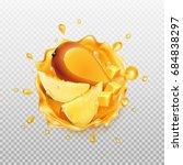 mango juice with fruit.... | Shutterstock .eps vector #684838297
