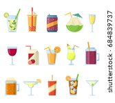 different drinks in bottles and ... | Shutterstock . vector #684839737