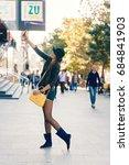 lovely posh young model girl... | Shutterstock . vector #684841903