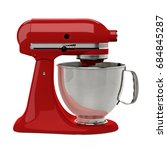 Red Stand Mixer On White...