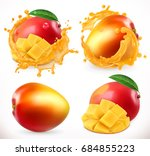 mango juice. fresh fruit  3d... | Shutterstock .eps vector #684855223