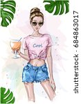 cute stylish girl in crop top.... | Shutterstock .eps vector #684863017