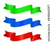ribbon vector set red  blue and ... | Shutterstock .eps vector #684864397