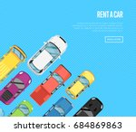 rent a car poster with top view ... | Shutterstock .eps vector #684869863
