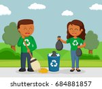 african couple environmental... | Shutterstock . vector #684881857