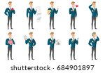 widely smiling caucasian groom... | Shutterstock .eps vector #684901897