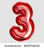 brilliant balloon font number 3 ... | Shutterstock . vector #684918643