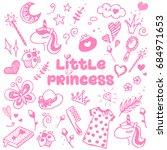 little princess pink attributes ... | Shutterstock .eps vector #684971653
