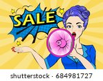 pop of cartoon woman take... | Shutterstock .eps vector #684981727