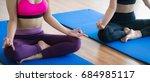 women doing yoga lotus pose ... | Shutterstock . vector #684985117
