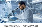 in a modern laboratory research ... | Shutterstock . vector #684989653