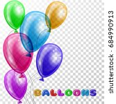 colorful realistic balloons on...   Shutterstock .eps vector #684990913