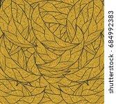 pattern gold  leaves  | Shutterstock . vector #684992383