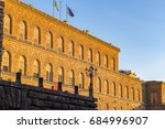 golden sunlight hit the facade... | Shutterstock . vector #684996907