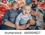 cute family resting on boho... | Shutterstock . vector #685004827
