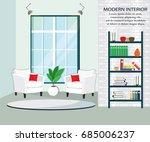modern room interior with... | Shutterstock .eps vector #685006237