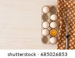 metal whisk on towel and carton ... | Shutterstock . vector #685026853