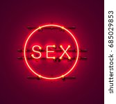 neon banner sex text on the red ... | Shutterstock .eps vector #685029853