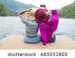 friends on holiday and outdoor... | Shutterstock . vector #685052803