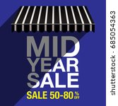 mid year sale banner template | Shutterstock .eps vector #685054363
