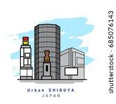 illustrator of urban shibuya.... | Shutterstock .eps vector #685076143