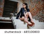 brunette plus size sexy woman ... | Shutterstock . vector #685100803