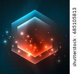 techno glowing glass hexagons... | Shutterstock .eps vector #685105813