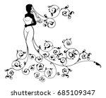 bride in silhouette  in a white ... | Shutterstock .eps vector #685109347